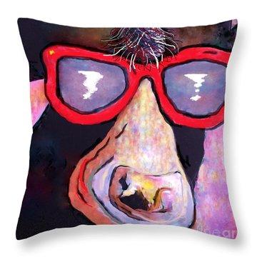 Moo-vie Star Cow Throw Pillow by Eloise Schneider