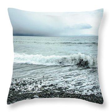 Moody Shoreline French Beach Throw Pillow