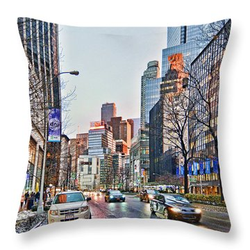 Moody Afternoon In New York City Throw Pillow