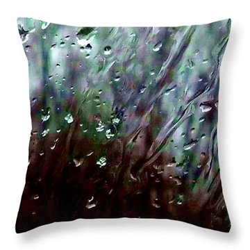 Throw Pillow featuring the photograph Moody Blues Rain On The Window Series 2 Abstract Photo by Marianne Dow