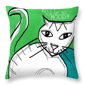 Moody Cat- Pop Art Throw Pillow