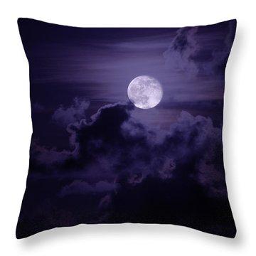 Moody Moon Throw Pillow