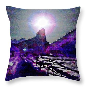 Moon Above Needle Rock Three Throw Pillow