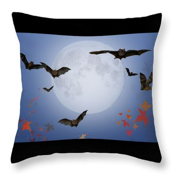 Moon And Bats Throw Pillow by Melissa A Benson