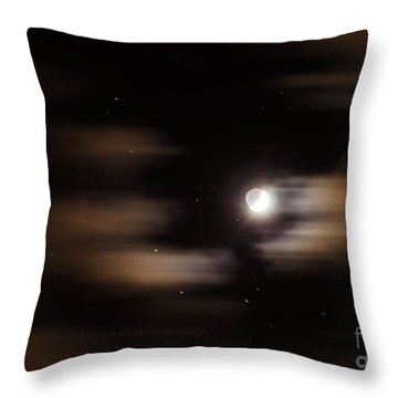 Moon And Stars II Throw Pillow by Judy Wolinsky