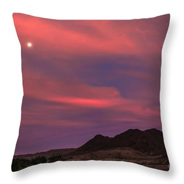 Moon And Sunrise Throw Pillow by Robert Bales