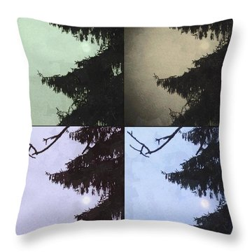 Throw Pillow featuring the photograph Moon And Tree by Photographic Arts And Design Studio