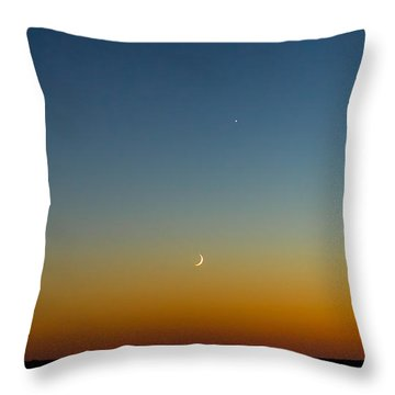Moon And Venus I Throw Pillow by Marco Oliveira