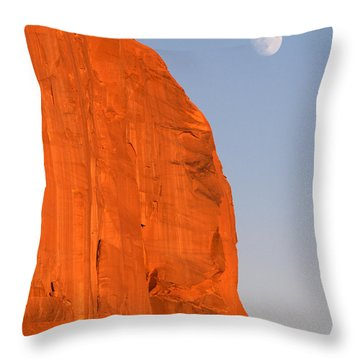 Moon At Monument Valley Throw Pillow