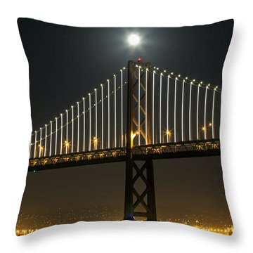 Moon Atop The Bridge Throw Pillow