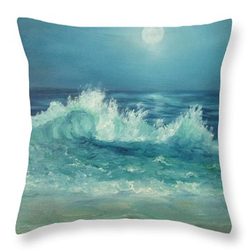 Moon Beach Painting Throw Pillow
