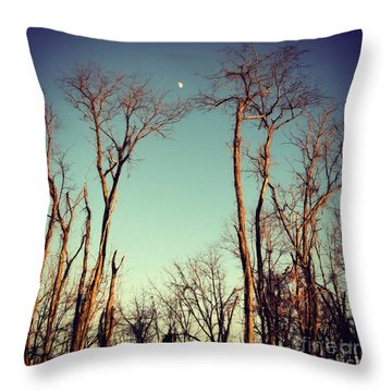 Throw Pillow featuring the photograph Moon Between The Trees by Kerri Farley