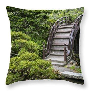 Moon Bridge - Japanese Tea Garden Throw Pillow