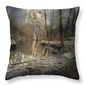 Moon Camp Throw Pillow by Betsy Knapp