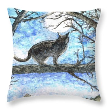 Moon Cat Throw Pillow by Teresa White