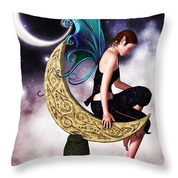 Moon Fairy Throw Pillow by Alexander Butler