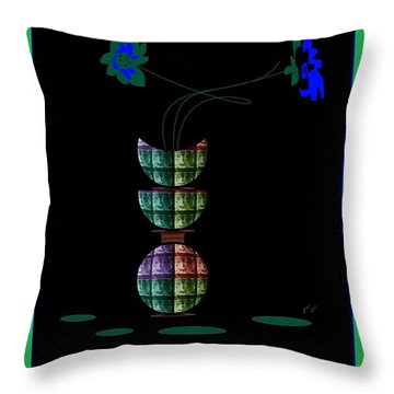 Throw Pillow featuring the digital art Moon Flower 1 by Ann Calvo