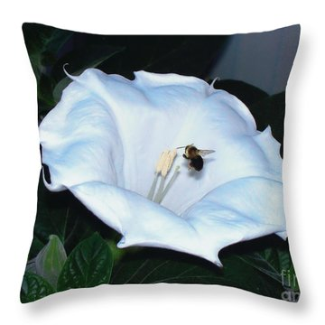 Throw Pillow featuring the photograph Moon Flower by Thomas Woolworth