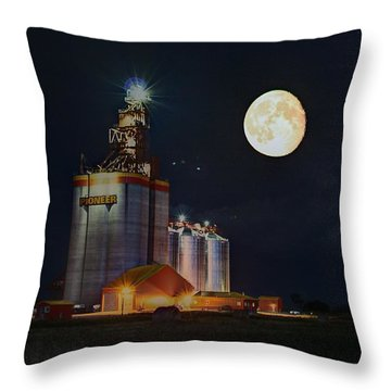 Moon Glow Over Elevator Throw Pillow