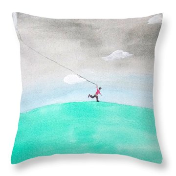 Moon Is My Kite Throw Pillow