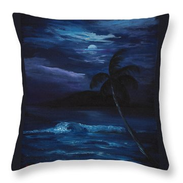 Moon Light Tropics Throw Pillow