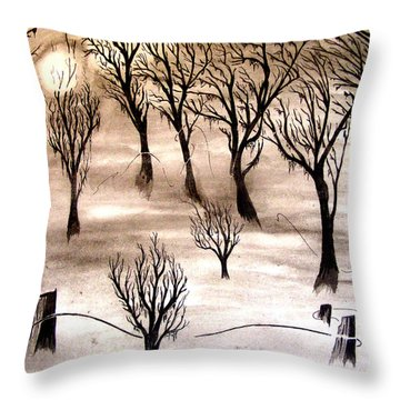 Moon Lit Fog Throw Pillow by Justin Moore