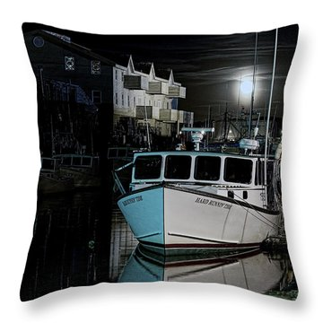 Throw Pillow featuring the photograph Moon Lit Harbor by Richard Bean