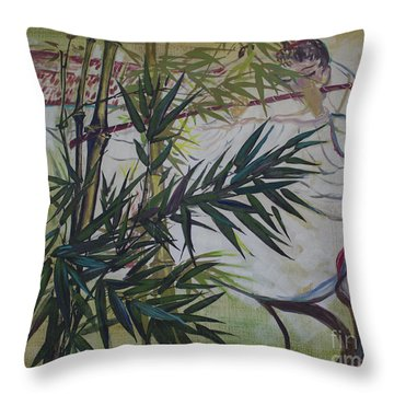 Moon Lovers With Flute  Throw Pillow