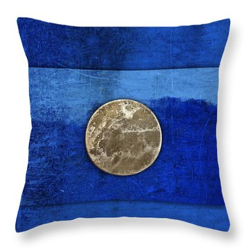 Moon On Blue Throw Pillow by Carol Leigh