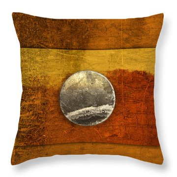 Moon On Gold Throw Pillow by Carol Leigh