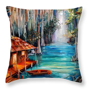 Moon On The Bayou Throw Pillow