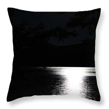 Moon On Waterton Lake Throw Pillow