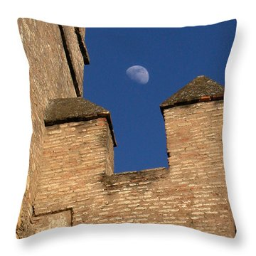 Moon Over Alcazar Throw Pillow