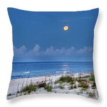 Moon Over Beach Throw Pillow by Michael Thomas