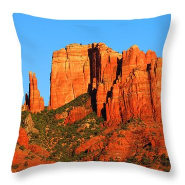 Throw Pillow featuring the photograph moon Over Cathedral by Tom Kelly
