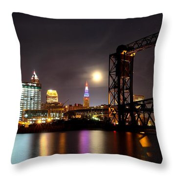 Throw Pillow featuring the photograph Moon Over Cleveland by Daniel Behm