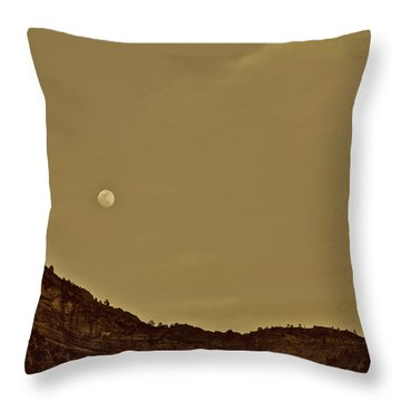 Moon Over Crag Utah Throw Pillow