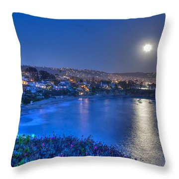 Moon Over Crescent Bay Beach Throw Pillow