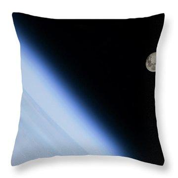 Moon Over Earth Throw Pillow