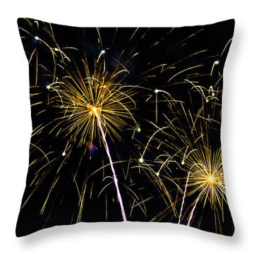 Moon Over Golden Starburst- July Fourth - Fireworks Throw Pillow