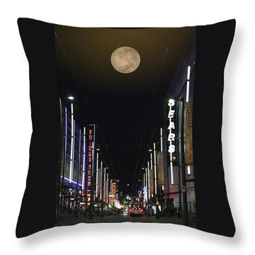Moon Over Granville Street Throw Pillow by Ben and Raisa Gertsberg