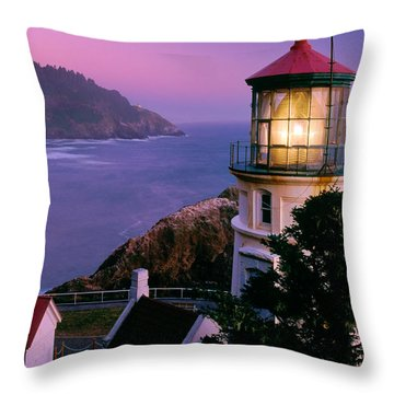 Moon Over Heceta Head Throw Pillow by Inge Johnsson