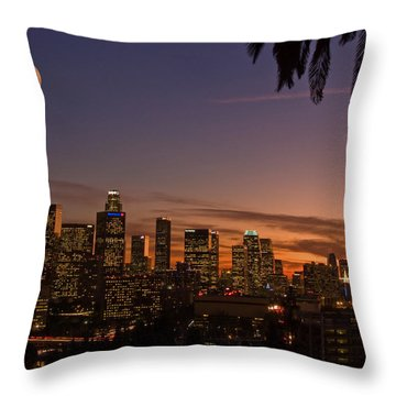 Moon Over L.a. Throw Pillow