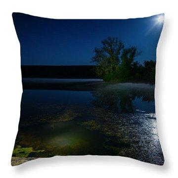 Moon Over Lake Throw Pillow by Alexey Stiop