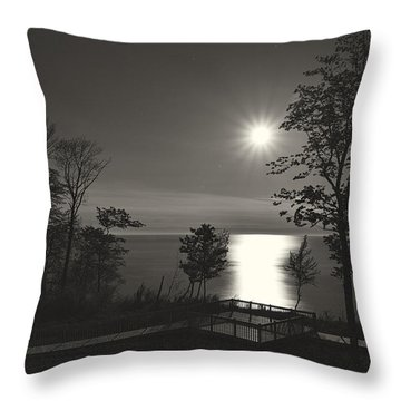 Moon Over Lake Michigan In  Black And White Throw Pillow