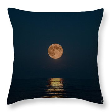 Moon Over Lake Of Shining Waters Throw Pillow