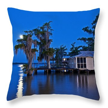 Moon Over Lake Verret Throw Pillow
