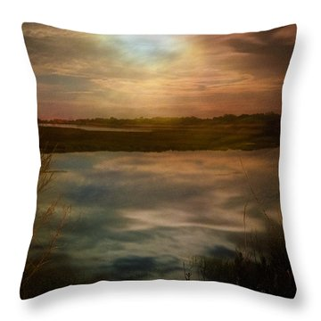 Moon Over Marsh - 35mm Film Throw Pillow by Gary Heller