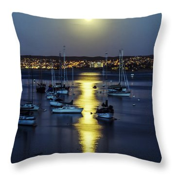 Moon Over Monterey Bay Throw Pillow by Joseph S Giacalone