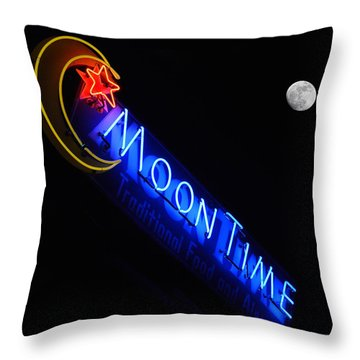 Moon Over Moon Time Throw Pillow